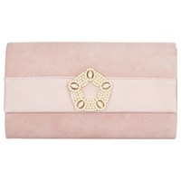 Phase Eight Georgie Suede Clutch Bag Rose