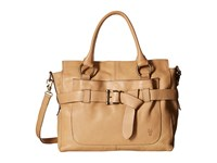 Frye Kayla Knotted Satchel Beige Tumbled Full Grain Satchel Handbags Neutral