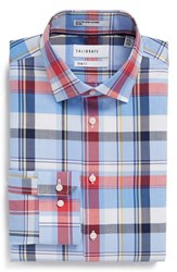 Calibrate Men's Big And Tall Trim Fit Plaid Non Iron Stretch Dress Shirt Red Saucy