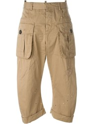 Dsquared2 Cropped Cargo Trousers Nude And Neutrals