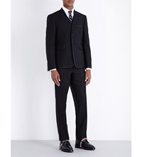 Thom Browne Tipped Regular Fit Wool And Mohair Suit Black