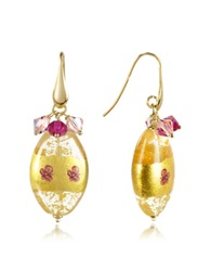 Briciole D'oro Murano Glass Oval Bead Drop Earrings Yellow