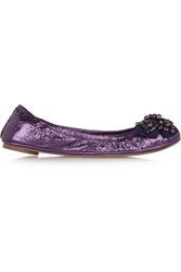 Tory Burch Azalea Embellished Metallic Leather Ballet Flats Purple