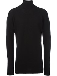 Rick Owens Oversized Turtleneck Jumper Black