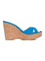 Jimmy Choo Perfume Suede And Cork Wedge Sandals Blue
