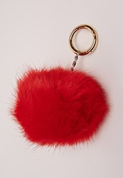 Missguided Faux Fur Pom Pom Keyring Red Red