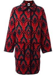 M Missoni Abstract Pattern Loose Fit Coat Red