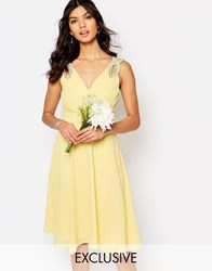 Tfnc Wedding Embellished Shoulder Prom Dress Pastel Yellow