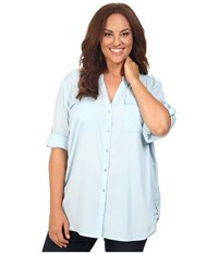 Calvin Klein Plus Size Crew Neck Roll Sleeve Top Cool Women's Long Sleeve Pullover Blue