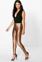 Boohoo Matte Metallic Highwaist Leggings Gold