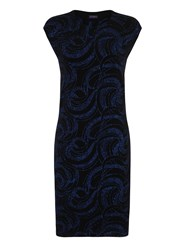 Hotsquash Shift Dress With Sparkle In Clever Fabri Black