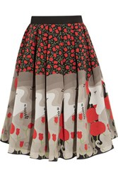 Holly Fulton Printed Silk Crepe De Chine Skirt Red