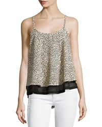 Dex Leopard Print Sleeveless Top Tan Black