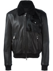 Versus Shearling Collar Leather Jacket Black