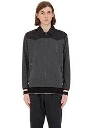 Lanvin Flecked Stripe Contrast Yoke Jacket Black