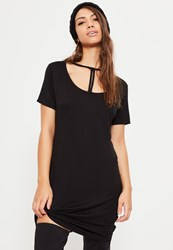 Missguided Black Triangle Strap Front Oversized T Shirt Dress