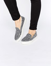 Asos Doodle Slip On Trainers Petrol Glitter Silver