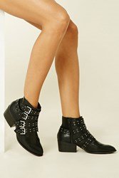 Forever 21 Studded Buckled Ankle Booties