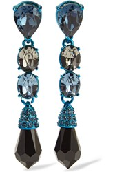Oscar De La Renta Enamel And Crystal Earrings Blue
