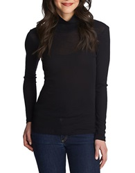 1 State Sheer Turtleneck Top Rich Black