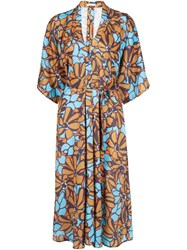 Tome Floral Print Belted Dress Brown