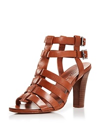 Lauren Ralph Lauren Open Toe Gladiator Sandals Larianna High Heel Polo Tan
