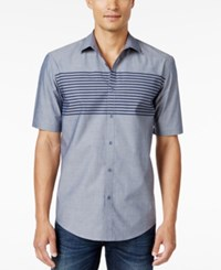 Alfani Men's Classic Fit Short Sleeve Stripe Shirt Only At Macy's Ocean Night
