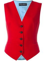 Dolce And Gabbana Bi Colour Waistcoat Red