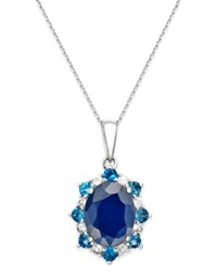 Macy's Multi Stone Starburst Pendant Necklace 2 1 4 Ct. T.W. In 10K White Gold Blue