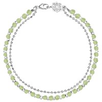 Dower And Hall Sterling Silver Beaded Friendship Bracelet Silver Peridot