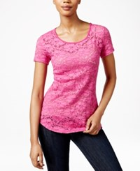 Maison Jules Short Sleeve Lace T Shirt Only At Macy's Fuschia Red