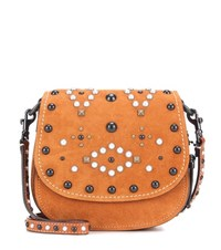 Coach Saddle Small Embellished Suede Crossbody Bag Brown