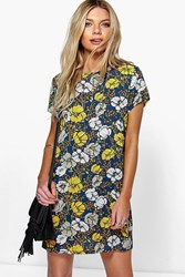 Boohoo Floral Print Cap Sleeve Shift Dress Black
