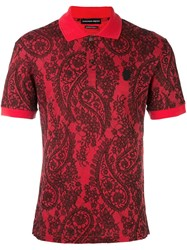 Alexander Mcqueen Lace Paisley Print Polo Shirt Red