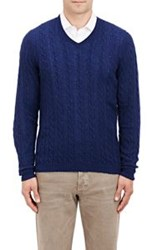 Malo Cable V Neck Sweater Blue Size Extra Extra Large