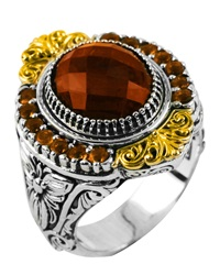 Konstantino Sterling Silver Round Cut Cognac And Citrine Ring With 18 Karat Gold Size 7
