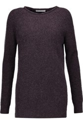 Autumn Cashmere Ribbed Knit Sweater Grape