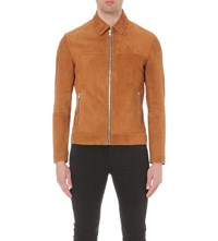 Reiss Sebastian Suede Jacket Tan