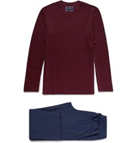 Hanro Alberto Cotton Jersey Pyjama Set Burgundy