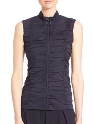 Akris Punto Ruched Zip Front Blouse Navy