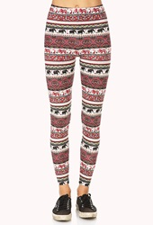 Forever 21 Elephant Parade Leggings Ivory Red