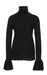 Co Textured Knit Flared Cuff Sweater Black