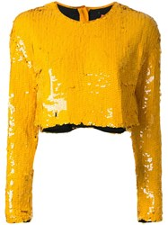 Manning Cartell Sequinned Cropped Top Yellow Orange
