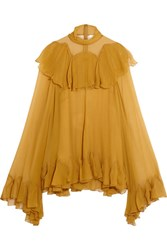 Chloe Ruffled Silk Crepon Turtleneck Blouse Mustard