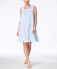 Eileen West Lace Trim Nightgown Blue Geo