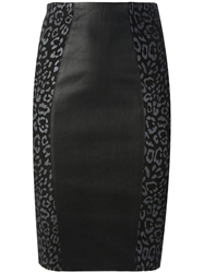 Lapis Italia Leopard Panel Pencil Skirt Black