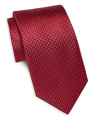 Saks Fifth Avenue Chevron Silk Tie Red