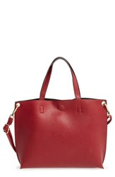 Street Level Junior Women's Reversible Faux Leather Tote Red Burgundy Black