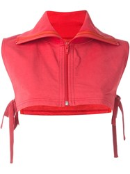 Facetasm Zipped Cropped Blouse Red