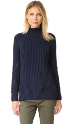 525 America Boyfriend Mock Neck Sweater Shadow Blue